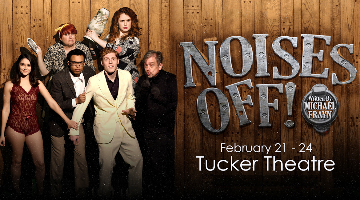 "MTSU Theatre's spring 2019 production of ""Noises Off!"" cast members are, from left on the front row, Alexa Pulley, Brandon Phillips, Nate Bumpus and Derek Whittaker; in the back row are Sandy Flavin and Sheridan Hitchcox. Not pictured are cast members Katlyn Marion and Aaron Gaines."