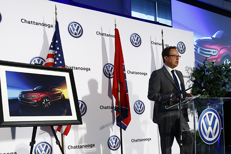 Volkswagen North America Region CEO Hinrich Woebcken speaks at the announcement of the new five-seat Atlas SUV at Volkswagen Chattanooga on Monday, March 19, 2018, in Chattanooga, Tenn. (Wade Payne/AP Images for Volkswagen)