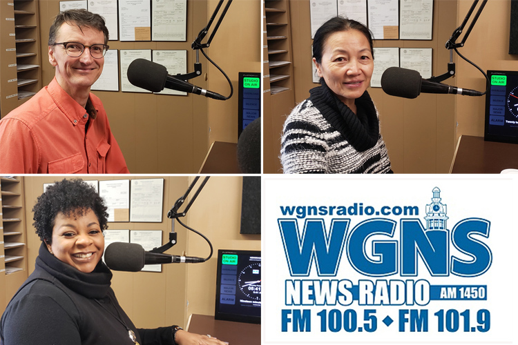 "MTSU faculty and staff appeared on the Feb. 18 WGNS Radio ""Action Line"" program with host Bart Walker to discuss upcoming MTSU events. Pictured in studio are, top left, Jamey Simmons, music professor and musician; top right, Mei Han, director, MTSU Center for Chinese Music and Culture; and, bottom left, Barbara Scales, director, June Anderson Center for Women and Nontraditional Students. (MTSU photo illustration by Jimmy Hart)"