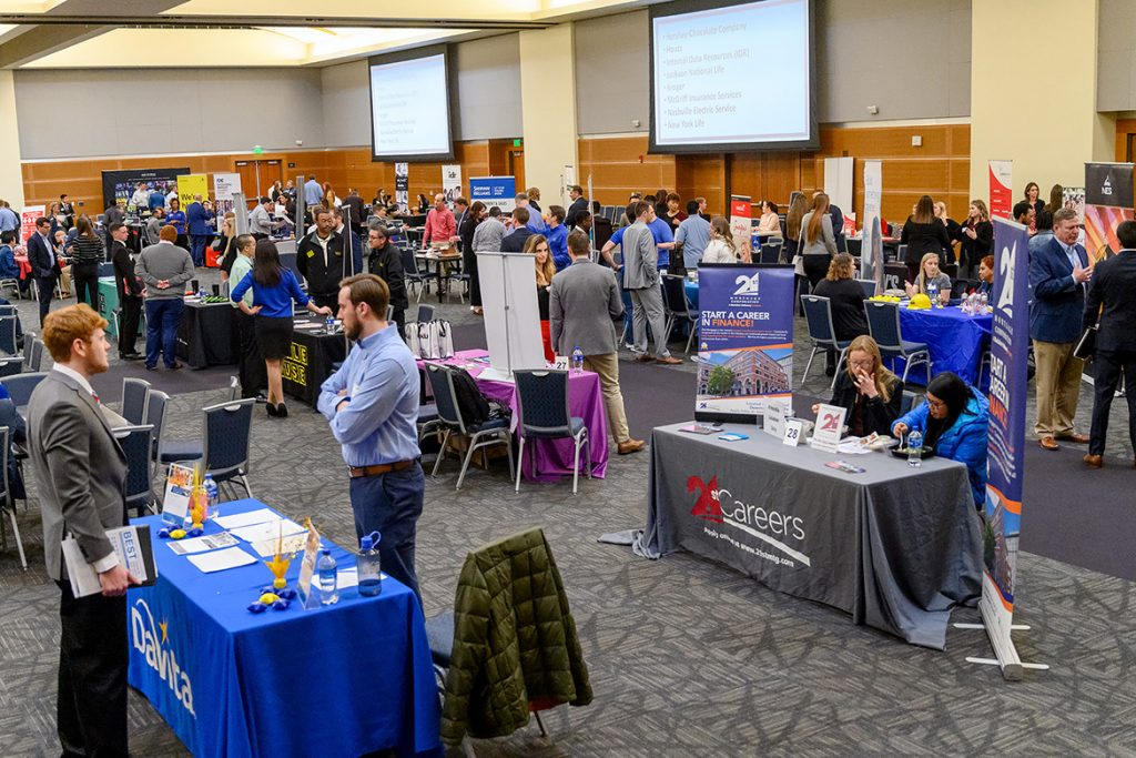 MTSU Jones College of Business students network with employers about jobs and internships at the Business Exchange for Student Talent, or BEST, Career Fair held Wednesday, March 20, in the Student Union Building ballroom. (MTSU photo by J. Intintoli)