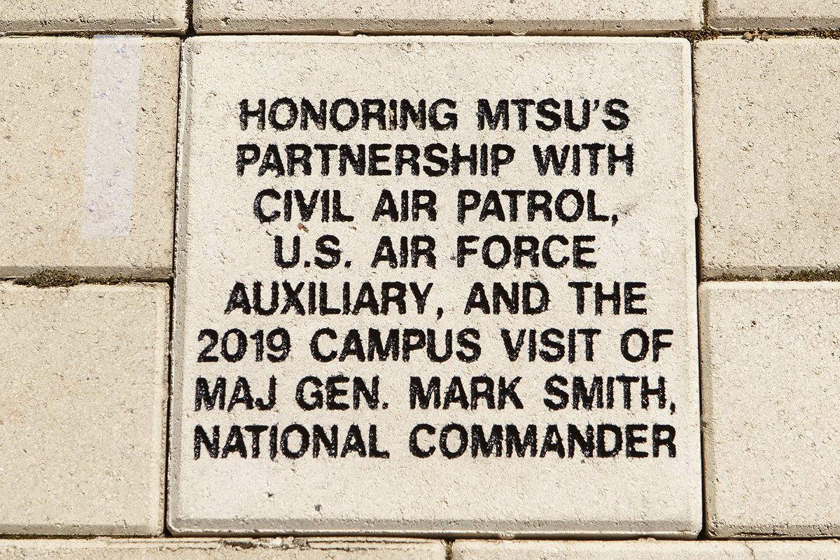 A special brick recognizing the partnership between MTSU and the Civil Air Patrol has been placed at the MTSU Veterans Memorial. A recognition ceremony was held Friday (March 22).