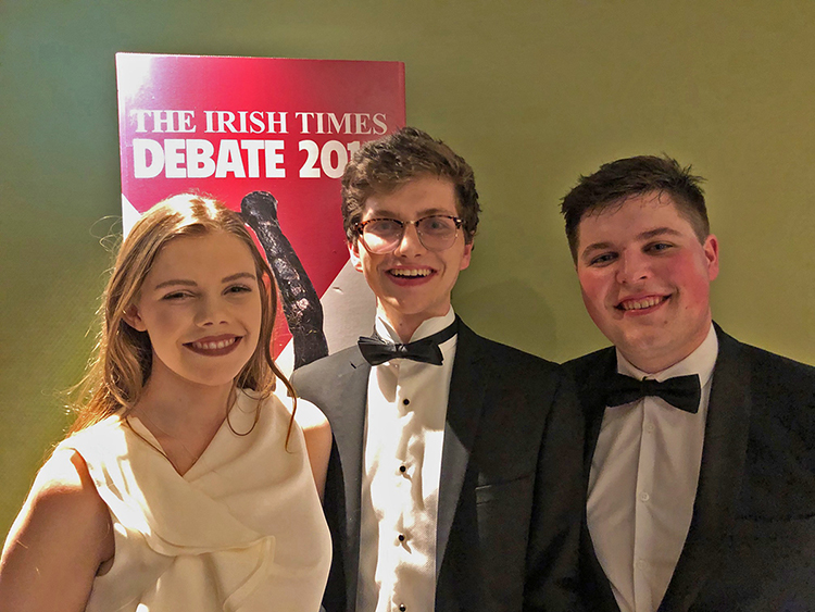 The Irish Times National Champions are visiting MTSU Thursday, March 21, for an exhibition debate as part of the team's U.S. tour. Pictured, from left, are Aishling Kinsella of University College Dublin, and Daniel Gilligan and Ronan Daly from Trinity College. (Submitted photo)