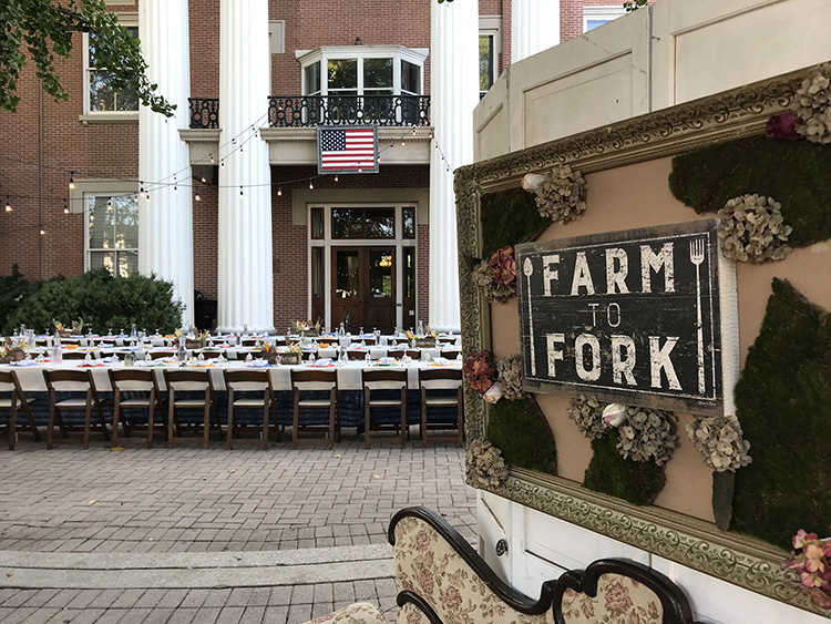 The table setup is shown outside the Rutherford County Courthouse for the September 2018 Downtown of the Farm fundraiser presented by Locally Owned Murfreesboro to fund scholarships in MTSU's Jones College of Business. (Photo courtesy of Locally Owned Murfreesboro)