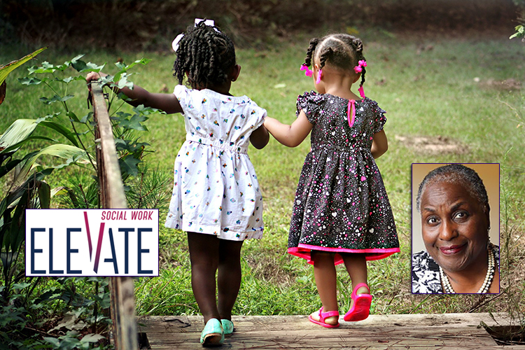 Dr. Marva Lewis, professor of social work at Tulane University, and the 2019 National Social Work Month logo are superimposed over a photo of two little girls in spring dresses holding hands and crossing a wooden bridge into a grassy yard. (Photo by Cheryl Holt via Pixabay)