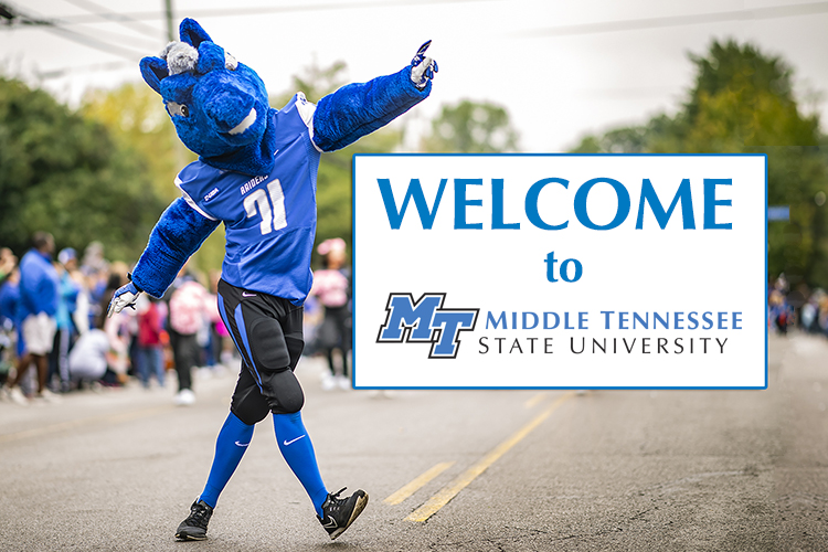 MTSU mascot Lightning strides across East Main Street in this 2018 file photo. Lightning and the rest of campus will be welcoming the 2019 TSSAA high school basketball tournaments to campus March 6-16. (MTSU photo by Kimi Conro/photo illustration by News and Media Relations)