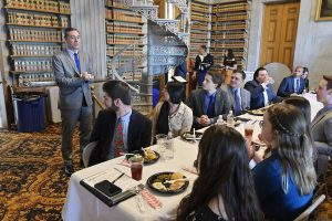 Tennessee Speaker of the House Glen Casada, who represents Williamson County, addresses part of the group of 11 MTSU interns working during the current legislative session at the Tennessee State Capitol in Nashville March 12 at an MTSU and Nissan USA-sponsored luncheon. Casada thanked the students for their work. (MTSU photo by Andy Heidt)