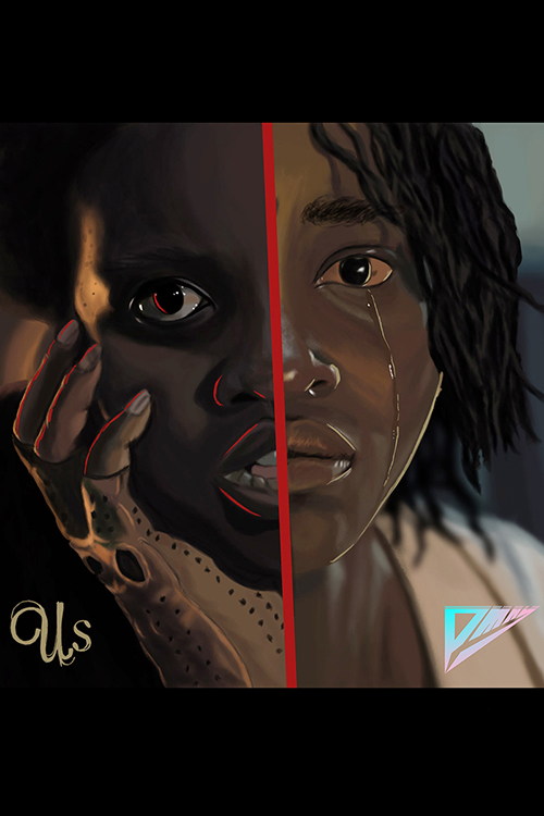 "MTSU graphic design major Phillip Mayberry of Nashville created this art depicting actor Lupita Nyong'o in her dual roles in Academy Award-winning writer-director Jordan Peele's new film, ""Us."" Mayberry's artwork was one of five pieces featured in a trailer for the movie, which opens March 22 nationwide. You can see more of Mayberry's work at http://www.instagram.com/pmayxart."