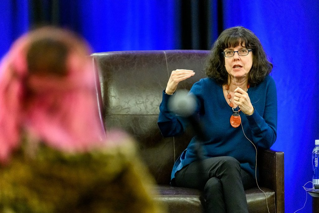 "Julie Cohen, right, co-director of the Oscar-nominated documentary ""RBG,"" responds to a question asked by audience member following a March 18 screening in the Student Union Ballroom. (MTSU Photos by J. Intintoli)"