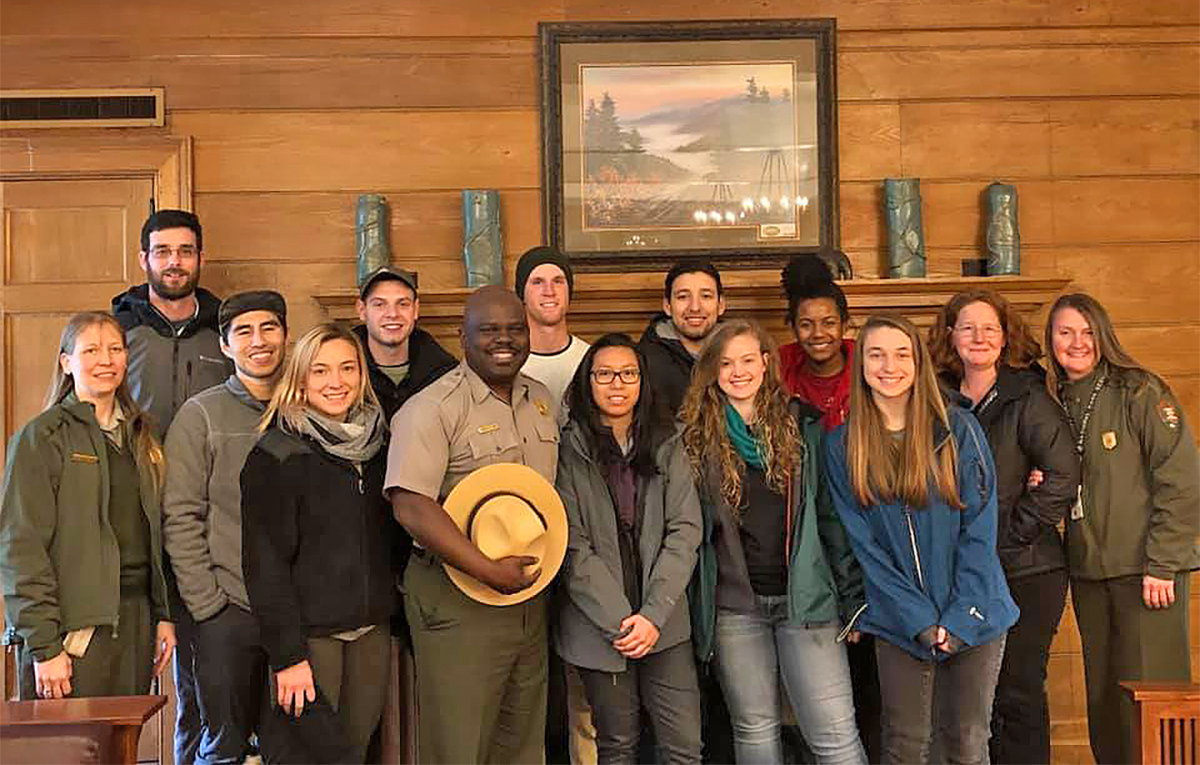 "The ""SmokyMtnU"" MTSU-Great Smoky Mountains National Park Collaborators include, from left, Christine Hoyer, Lee Rumble, Luke Torres, Haven Poore, Cody Keck, park Superintendent Cassius Cash, James Beckner, Cyerrha Sengaroun, Elman Gonzales, Bekkah Riley, Infiniti Bristol, Haley Carter, Ashley Morris and Steph Sutton. MTSU finished Week 1 of the two-week in-the park study during spring break. (Submitted photo)"