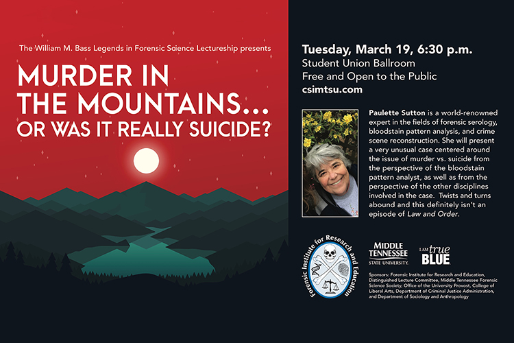 Blood spatter expert Paulette Sutton will speak at MTSU Tuesday, March 19, in a free public lecture in the Student Union Ballroom.