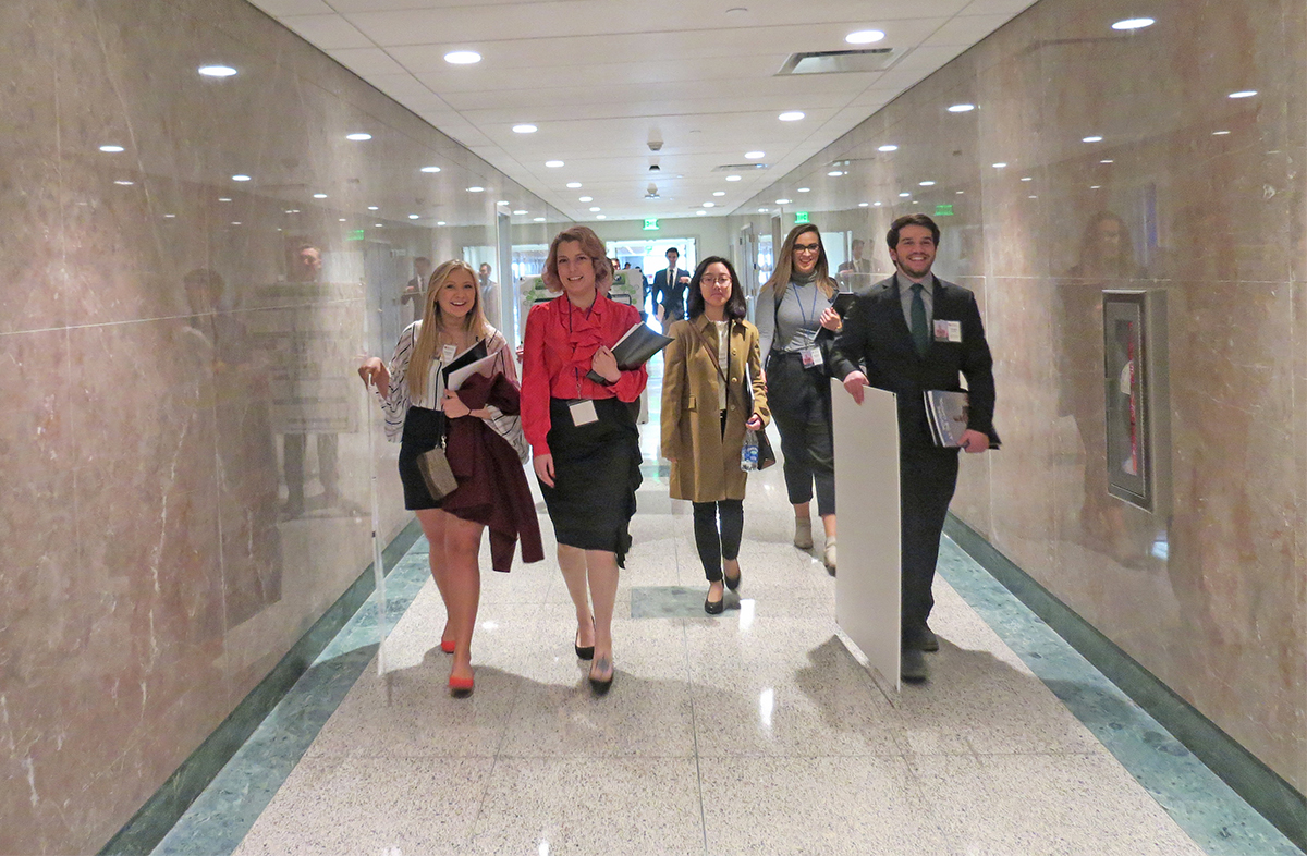 MTSU undergraduate researchers walk down the tunnel at state Capitol.