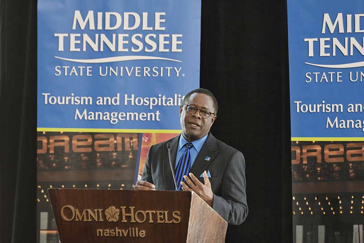 MTSU President Sidney A. McPhee makes a point Thursday, March 21, at the Omni Nashville Hotel during the announcement of MTSU's new Tourism and Hospitality Management Bachelor of Science Degree Program, the only college degree track of its kind in Middle Tennessee. The new program will prepare graduates for a wide variety of careers, including travel and tourism services, food and beverage services, entertainment, concerts and festivals, travel transportation and more. (MTSU photo by Andy Heidt)