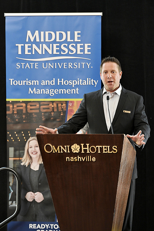 Eric Opron, managing director of the Omni Nashville Hotel, expresses his support for MTSU's new Tourism and Hospitality Management Bachelor of Science Degree Program Thursday, March 21, during the announcement of the program's fall 2019 launch. The new program is the only college degree track of its kind in Middle Tennessee and will prepare graduates for a wide variety of careers, including travel and tourism services, food and beverage services, entertainment, concerts and festivals, travel transportation and more. (MTSU photo by Andy Heidt)