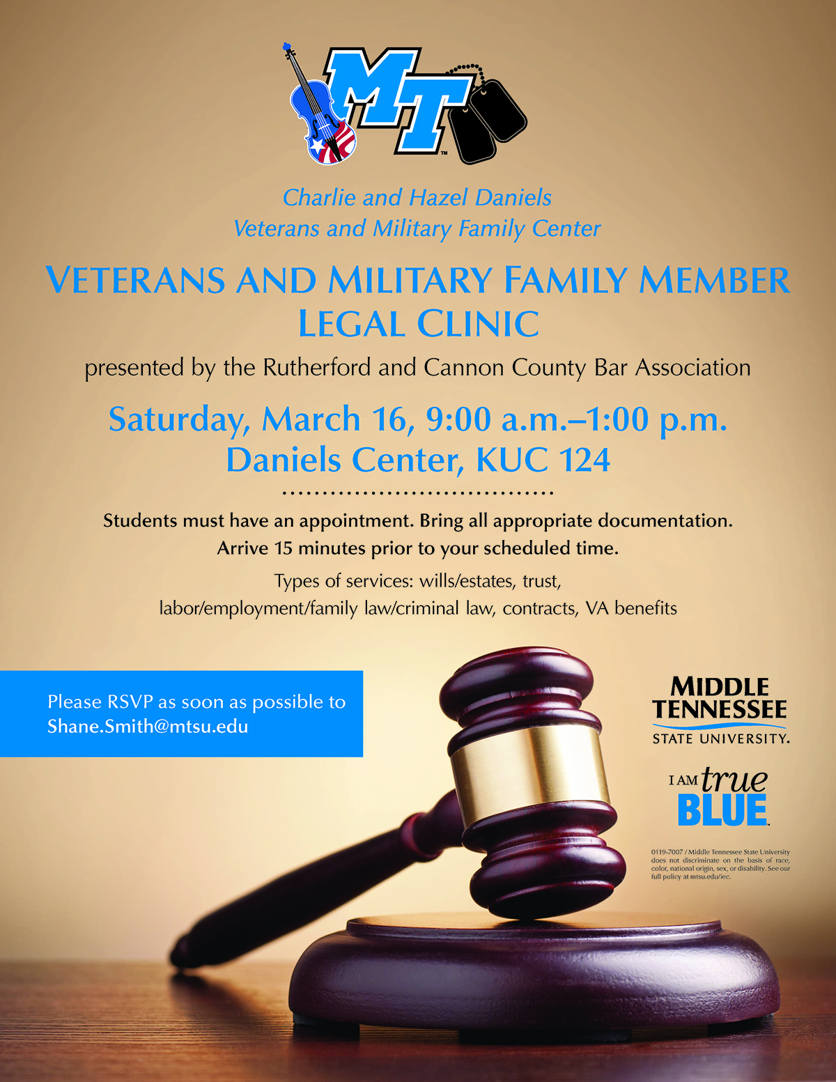 2019 veterans legal clinic flyer