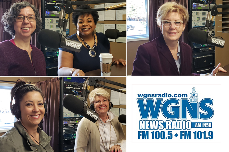 "MTSU faculty and staff appeared on WGNS Radio to share information during the March 18 ""Action Line"" program with host Bart Walker. Pictured in studio, top left, from left, are Dia Cirillo, Murfreesboro Chapter of the American Association of University Women, and Barbara Scales, June Anderson Center for Women and Nontraditional Students; bottom left, from left, Ashley Riley Sousa, assistant history professor, and Connie Huddleston, College of Liberal Arts; and, top right, Bonnie Allen, dean of the James E. Walker Library. (MTSU photo illustration by Jimmy Hart)"