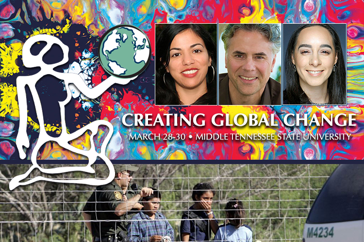 Women's & Gender Studies Conference graphic including photos of 2019 conference keynote speaker Daisy Hernandez and MTSU professors Paul Chilsen and Adelle Monteblanco superimposed on a photo of a Border Patrol agent standing on a fence line with children taken into custody in South Texas