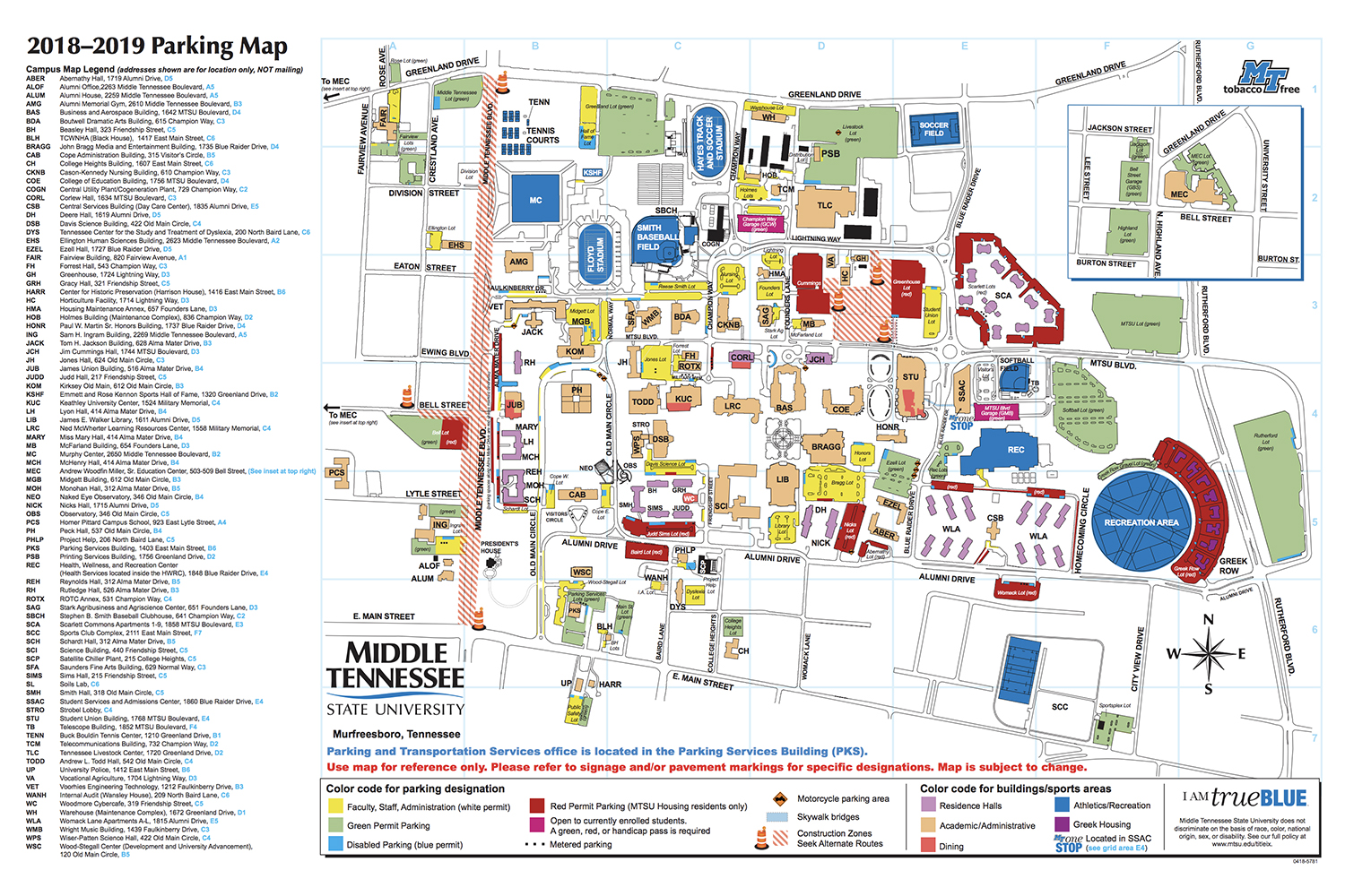 Mtsu Campus Map MTSU welcomes TSSAA tourneys through March 16, notes parking