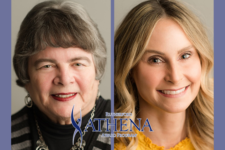 MTSU alumnae Dr. Linda Gilbert, winner of the 2019 ATHENA Leadership Award, and Erin Rains, winner of the the 2019 Young Professional Leadership Award, both presented by Rutherford Cable.
