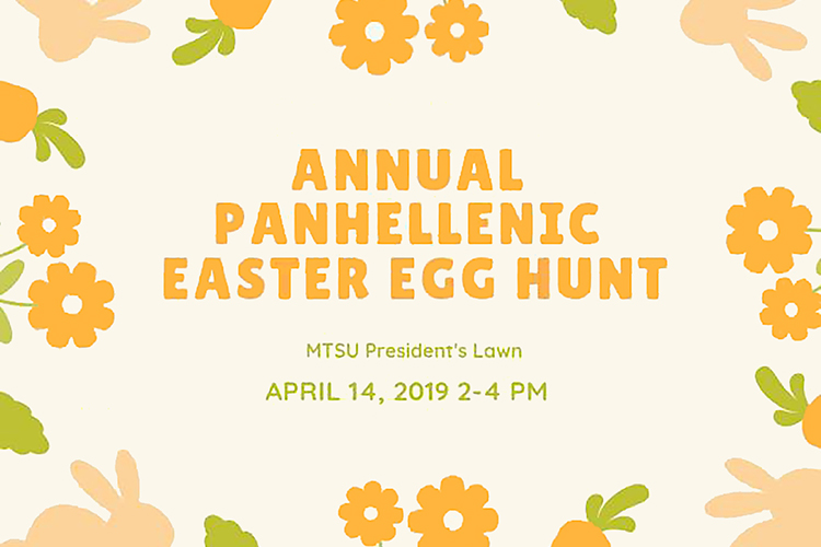 MTSU's annual Easter Egg Hunt, sponsored by the university's Panhellenic Council, is set this Sunday, April 14, from 2 to 4 p.m. on the lawn of the President's Home at the corner of East Main and Middle Tennessee Boulevard.