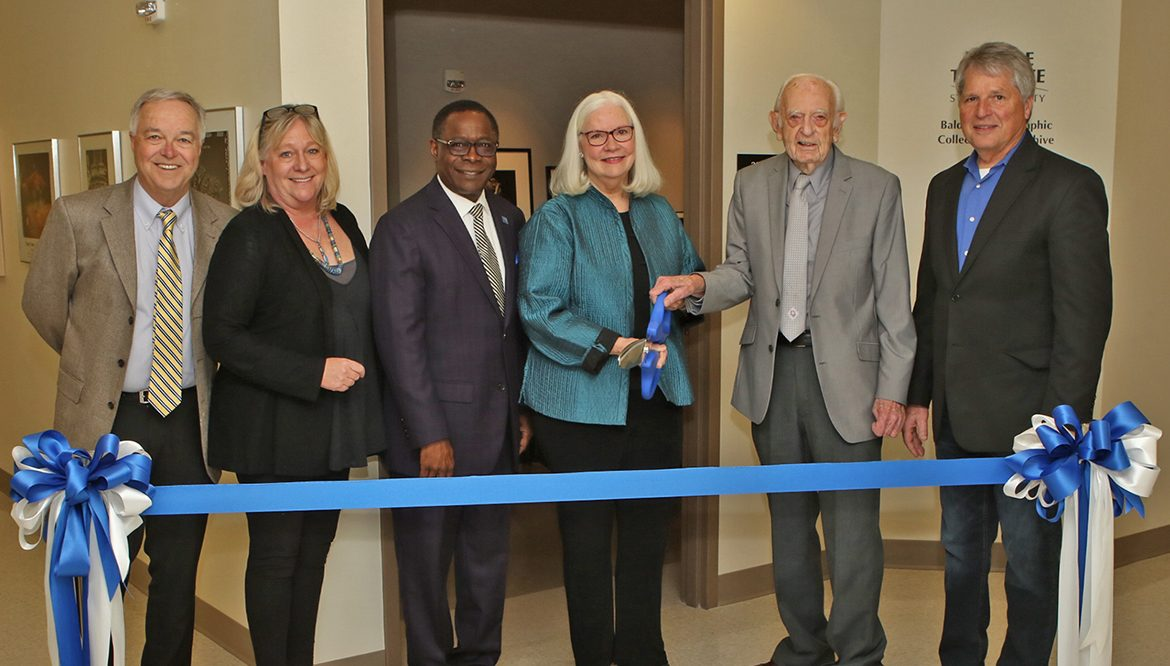 MTSU hosted a March 20 ribbon-cutting for the new Baldwin Photographic Collection and Archive on the second floor of the Miller Education Center on Bell Street. Pictured, from left, Ken Paulson, dean of the College of Media and Entertainment; Baldwin Photographic Gallery curate Jackie Heigle; MTSU President Sidney A. McPhee; Mary Alice Rouslin, widow of longtime gallery curator and professor Tom Jimison; Professor Emeritus Harold Baldwin; and Department of Media Arts Chair Billy Pittard. (MTSU photo by James Cessna)