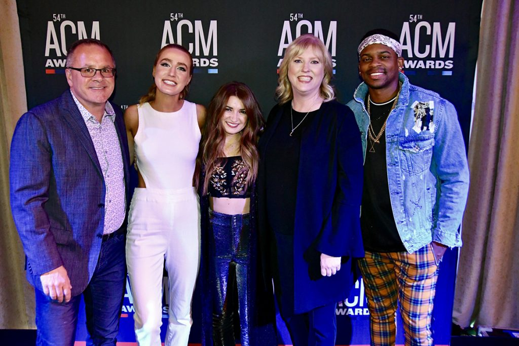 From left, Academy of Country Music CEO and MTSU alum Pete Fisher; artists Ingrid Andress and Tenille Townes; MTSU Recording Industry Chair Beverly Keel; and artist Jimmie Allen. The artists were featured as part of the Change the Conversation event held Saturday night, April 6, in Las Vegas in advance of Sunday's ACM Awards. (MTSU photo by Andrew Oppmann)