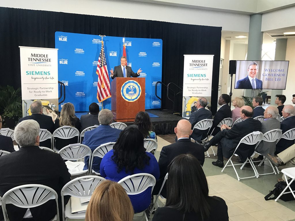 Tennessee Gov. Bill Lee discusses the ready-to-work programs offered at MTSU, such as mechatronics engineering, during an event Wednesday, April 3, recognizing the in-kind software grant from Siemens Digital Industries Software that provides hands-on training for mechatronics students. The event was held at the Miller Education Center on Bell Street. (MTSU photo by Andrew Oppmann)