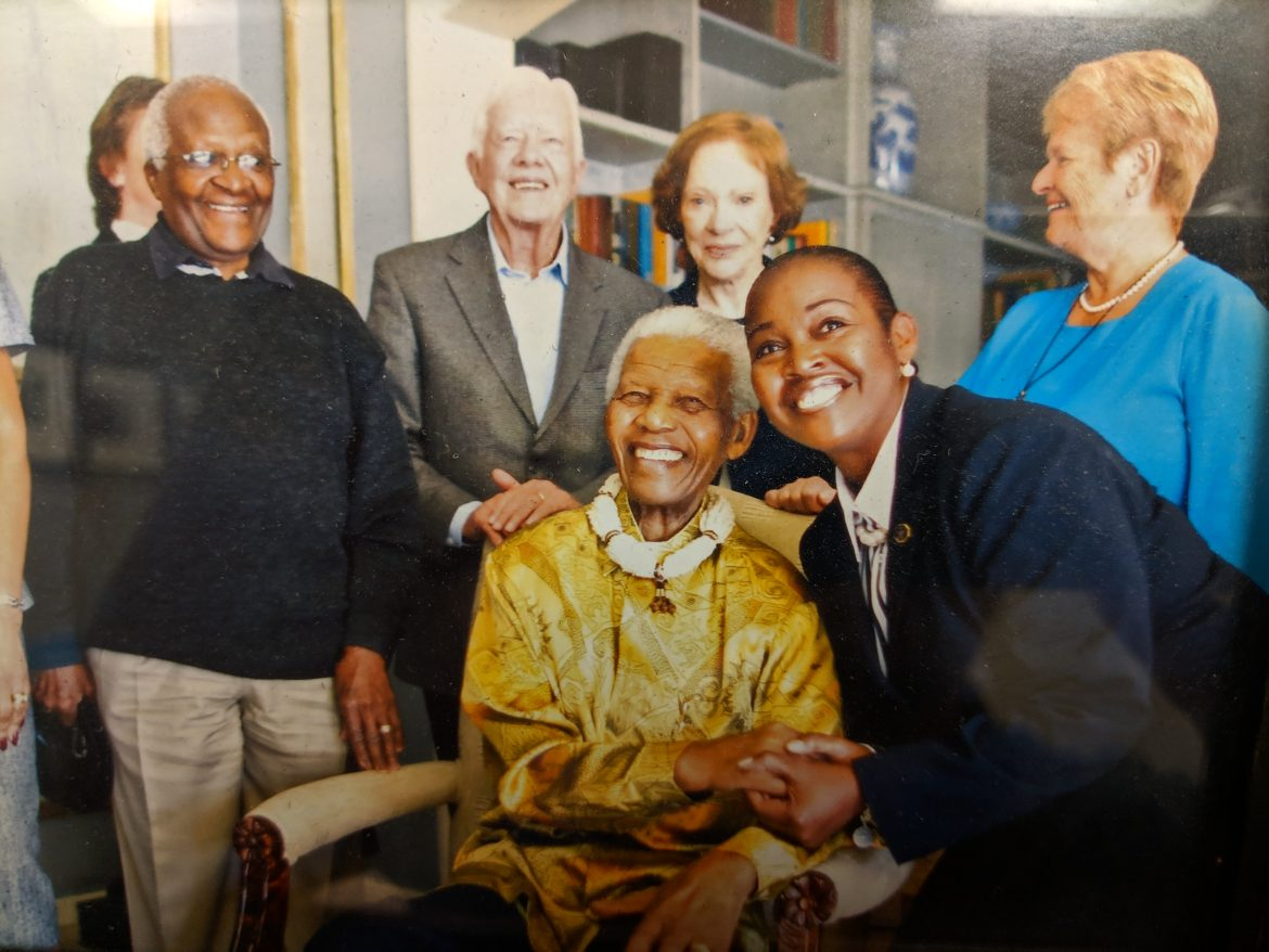 MTSU Criminal Justice professor Lynda Williams pictured with the late Nelson Mandela and former U.S. President Jimmy Carter and former First Lady Rosalynn Carter. Image provided.