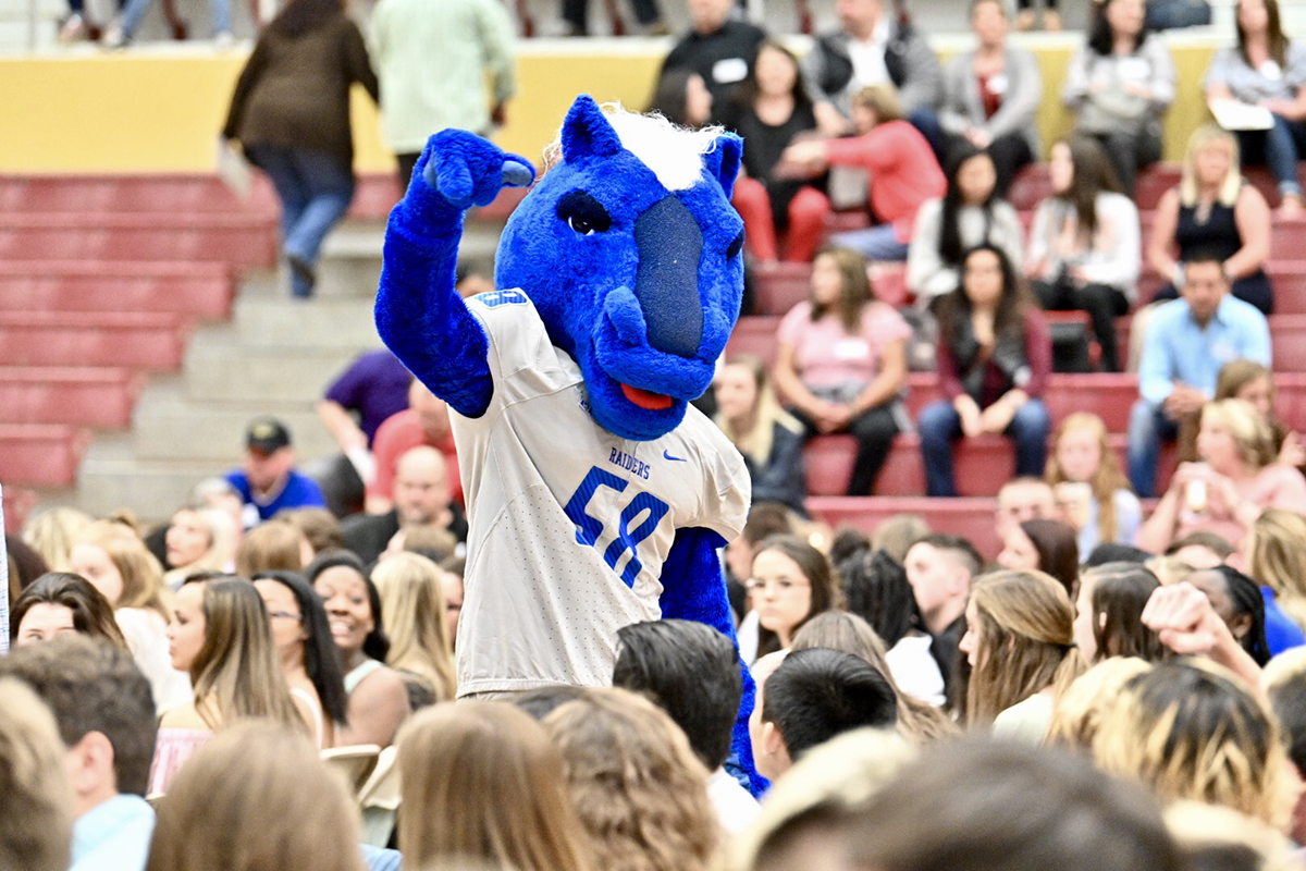 MTSU athletics mascot Lightning mingles with the crowd Friday (April 5) during the inaugural Riverdale High School College and Career Signing Day in the Johnny Parsley Memorial Gym.
