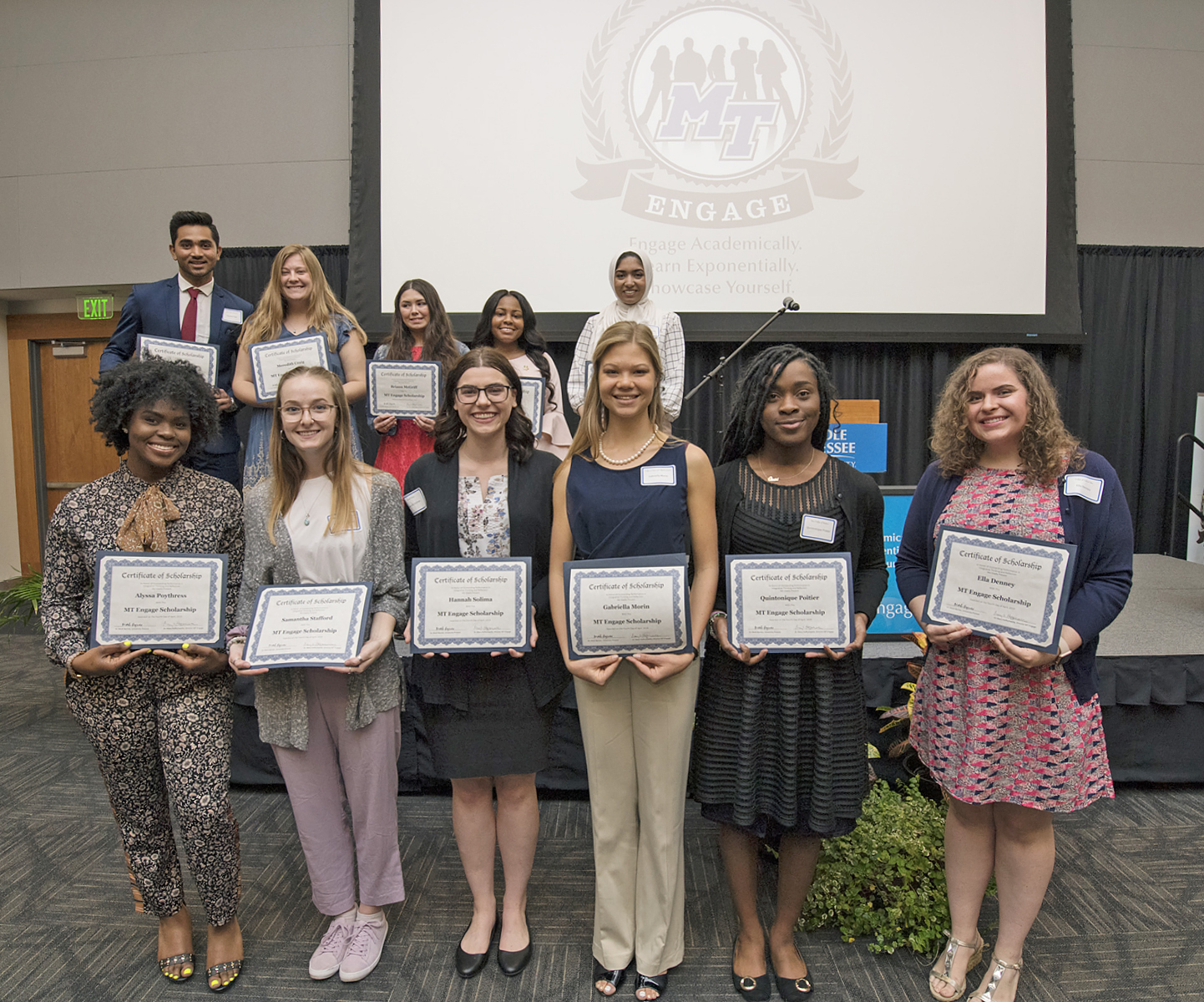 Scholarship winners were annnounced at the 2019 Spring MT Engage Reception held April 4 in the Student Union Ballroom. Pictured, front row from left, are Ayssa Poythress, Samantha Stafford, Hannah Solima (overall winner), Gabriella Morin, Quintonique Poitier and Ella Denney; back row from left, Kaushal Patel, Meredith Craig, Briann McGriff, Keturah Smith, and Alaa Mohammed. Not pictured is winner Rachel Woeltje. (MTSU photo by Andy Heidt)