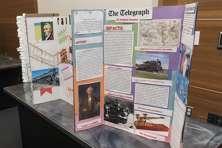 Students participating in the Reading History Initiative showcased their displays April 4 during the 2019 Spring MT Engage Reception in the Student Union Ballroom. (MTSU photo by Andy Heidt)