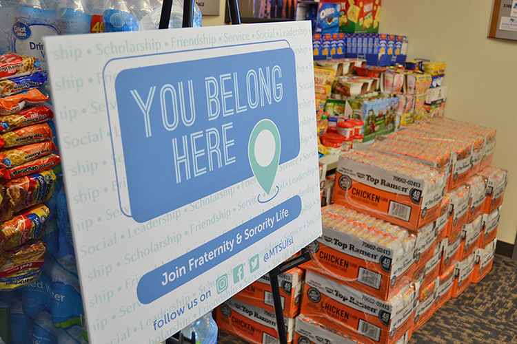 Donated food items from this year's Greek Week food drive await pickup to be transported to the Student Food Pantry located inside MT One Stop. (MTSU photo by Jimmy Hart)