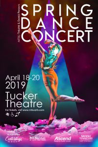 MTSU Dance Theatre will present its Spring Dance Concert 2019 in the university's Tucker Theatre Thursday-Saturday, April 19-20, beginning at 7:30 each evening. Tickets are $10 for adults and $5 for K-12 students and seniors and are available at http://www.mtsuarts.com. MTSU students will be admitted free with a valid ID.