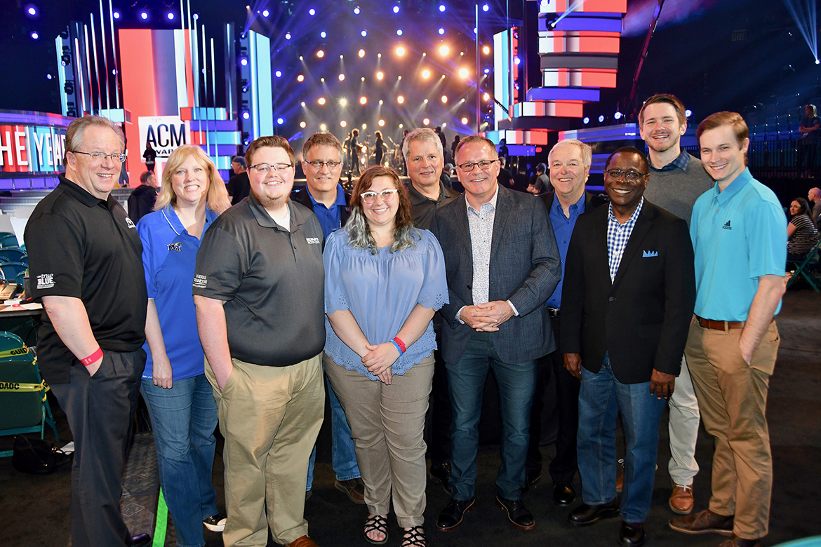 MTSU student and faculty representatives from the College of Media and Entertainment again enjoy a working trip to Las Vegas for this year's Academy of Country Music Awards show broadcast Sunday, April 7. Pictured, from left, are Dr. Bob Gordon, media arts professor; Beverly Keel, Department of Recording Industry chair; MTSU student Ryan Tyler; Dr. Mark Byrnes, university provost; MTSU student Madison Stewart; Billy Pittard, Department of Media Arts chair; Pete Fisher, MTSU alumnus and CEO of the Academy of Country Music; Ken Paulson, College of Media and Entertainment dean; MTSU President Sidney A. McPhee; and MTSU students Austin Forsberg and Kevin Henkels. (MTSU photo by Andrew Oppmann)