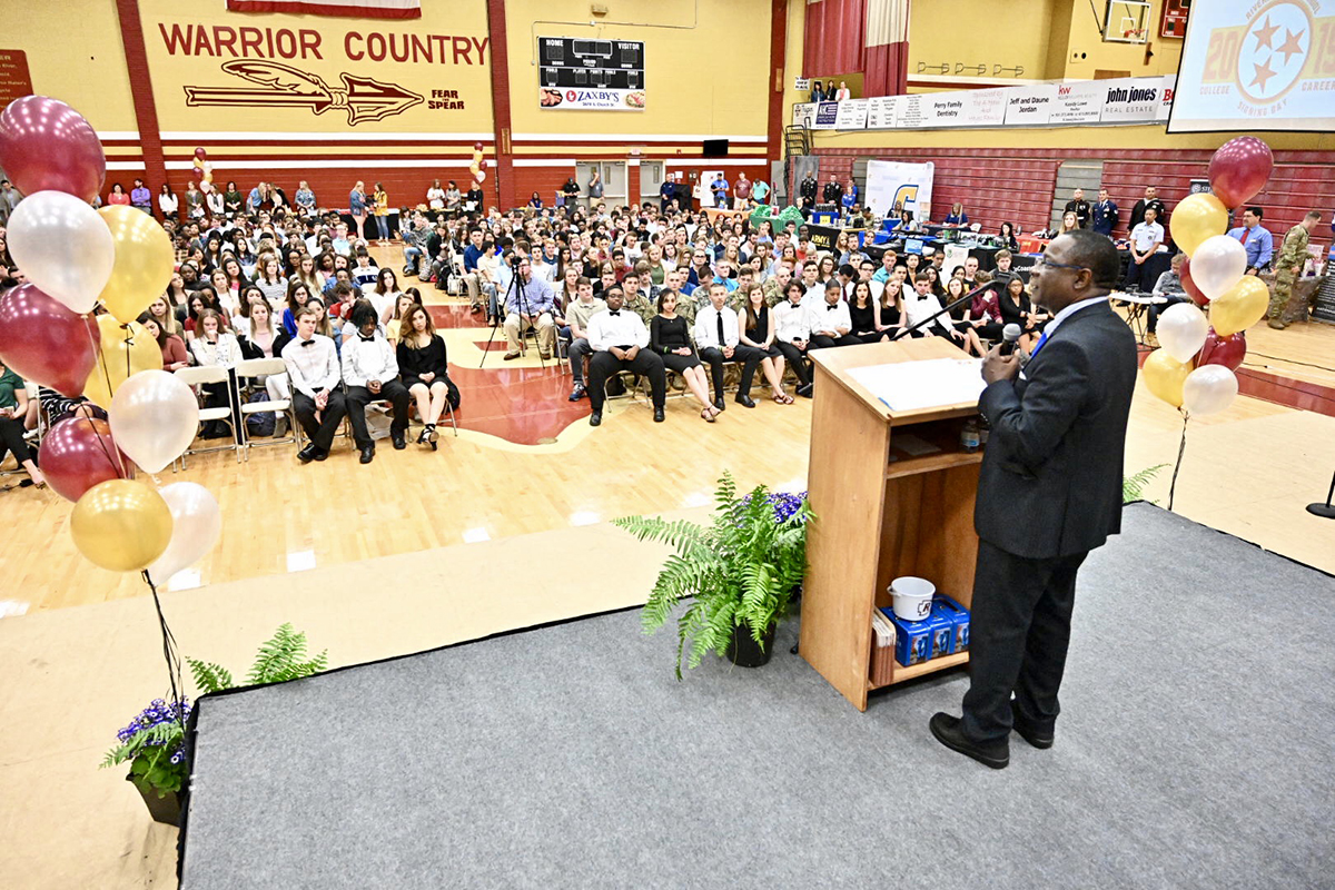 From the podium as keynote speaker, MTSU President Sidney A. McPhee tells Riverdale High School seniors to apply themselves, take advantage of opportunities and not waste time Friday (April 5) during the first Riverdale College and Career Signing Day in the Johnny Parsley Memorial Gym.