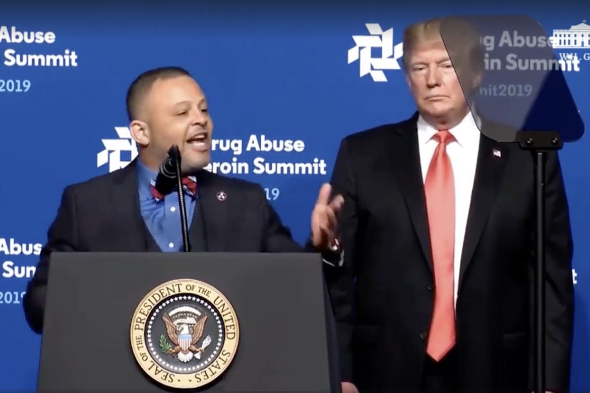 MTSU alumnus Monty Burks, left, shares his personal story Wednesday, April 24, at the Rx Drug Abuse and Heroin Summit in Atlanta, Ga, at the invitation of President Donald Trump, right. Burks is director of Faith-Based Initiatives/Division of Substance Abuse at the Tennessee Department of Mental Health and Substance Abuse Services. (Photo courtesy of C-SPAN)