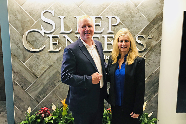 Dr. William Noah, left, medical director of Sleep Centers of Middle Tennessee, and Cynthia Chafin, associate director of the MTSU Center for Health and Human Services, are pictured at the Sleep Centers' Murfreesboro location. Sleep Centers of Middle Tennessee has partnered with the MTSU Center for Health and Human Services for a sleep research study. (MTSU photo by Andy Heidt)