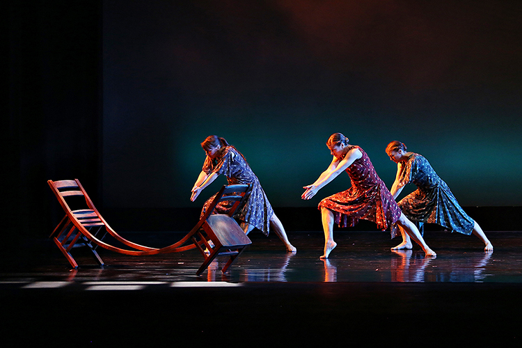 Members of the MTSU Dance Theatre troupe concentrate on their performance in the Fall 2018 Dance Concert at MTSU. The 2019 Spring Dance Concert event is set April 18-20 at Tucker Theatre inside the university's Boutwell Dramatic Arts Auditorium. Ticket information is available at MTSUArts.com. (Photo courtesy of Martin O'Connor)