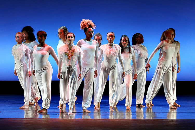 Members of the MTSU Dance Theatre troupe stand tall before the audience in Tucker Theatre during a performance in the Fall 2018 Dance Concert at MTSU. The 2019 Spring Dance Concert event is set April 18-20 at Tucker Theatre inside the university's Boutwell Dramatic Arts Auditorium. Ticket information is available at MTSUArts.com. (Photo courtesy of Martin O'Connor)
