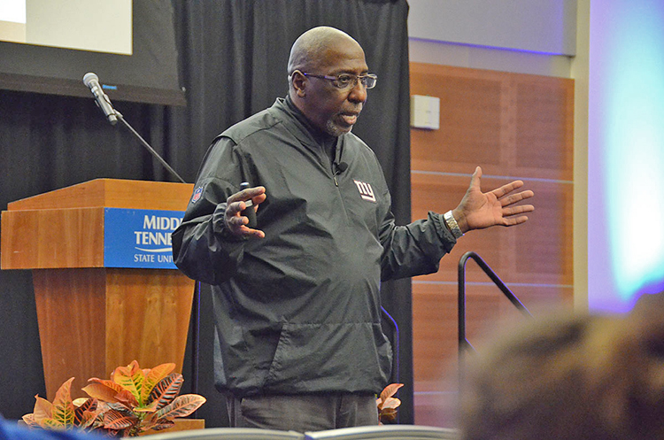 Author and social justice advocate Tony Porter makes a point during his presentation about combatting gender-based violence held April 8 in the Student Union Ballroom. (MTSU photo by Jimmy Hart)