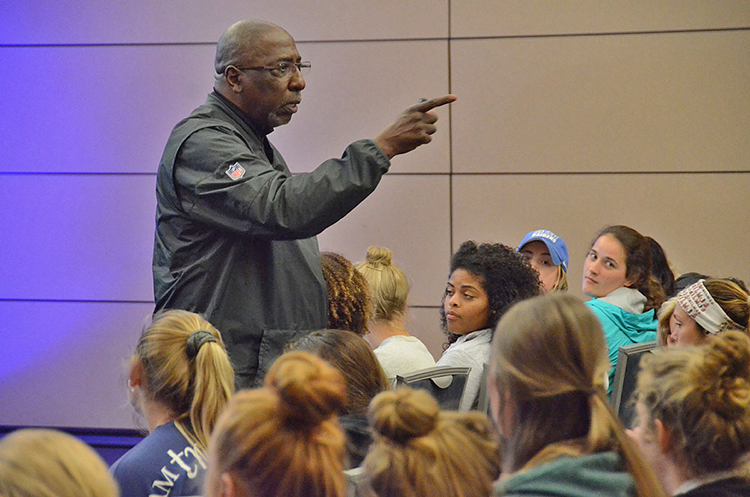 Author and social justice advocate Tony Porter makes a point during his presentation about combatting gender-based violence held April 8 in the Student Union Ballroom. The session, which was geared toward female students and student athletes, was one of two held by Porter that night. (MTSU photo by Jimmy Hart)