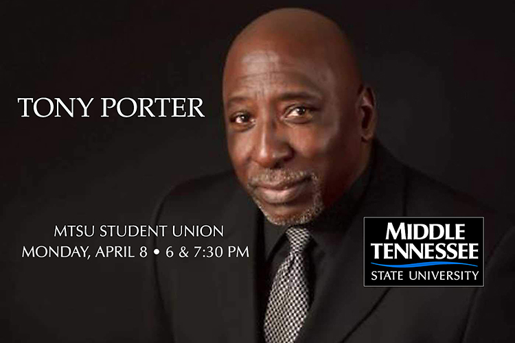 promo for author & antiviolence advocate Tony Porter's lectures on April 8, 2019, as part of Sexual Assault Awareness Month