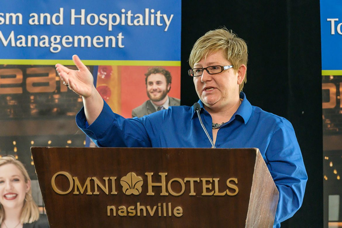 Dr. Joey Gray of the Leisure, Sport and Tourism department addresses guests at the introduction event for the new Tourism and Hospitality degree program at the OMNI Hotel in downtown Nashville. Photo by Andy Heidt.