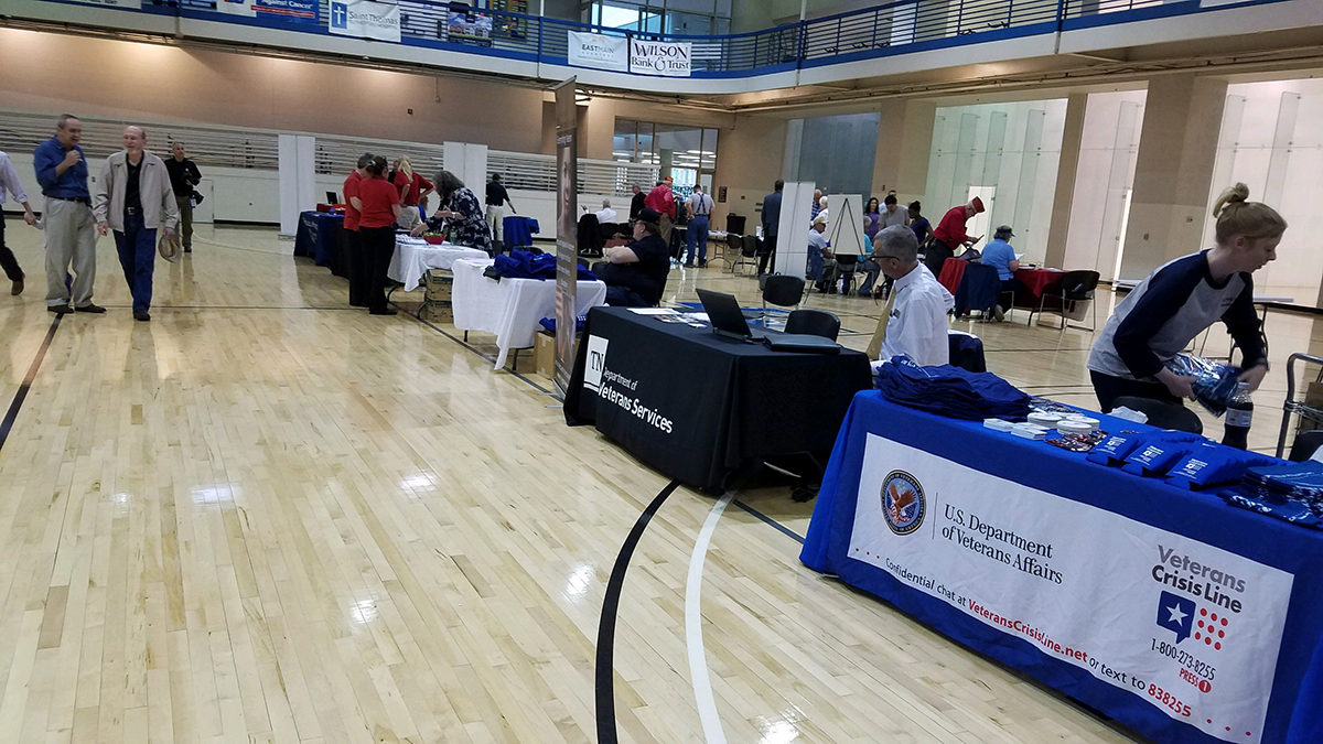 Organizations attending a past Veteran and Family Benefits Expo at MTSU visit with or await attendees seeking information. An expo and family fun day will be held from 2 to 5 p.m. Saturday, April 13.