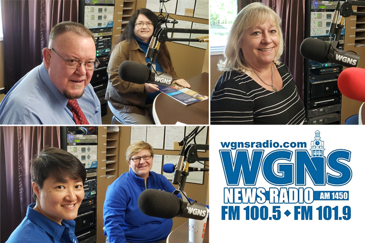 "MTSU faculty and staff appeared on WGNS Radio recently for the April 15 ""Action Line"" program with host Bart Walker. Pictured, top right, is Jackie Heigle, curator of the Baldwin Photographic Gallery at MTSU; top left, from left, Dr. Rick Sluder, dean of MTSU's University College and vice provost for Student Success, and Dr. Pamela Morris, Master of Professional Studies graduate coordinator in the University Studies Department; and bottom left, from left, Dr. Nicky Wu, an assistant professor in the Department of Health and Human Performance, and Dr. Joey Gray, an associate professor in MTSU's Department of Health and Human Performance and coordinator for the Leisure, Travel and Tourism Studies Program. (MTSU photo illustration by Jimmy Hart)"