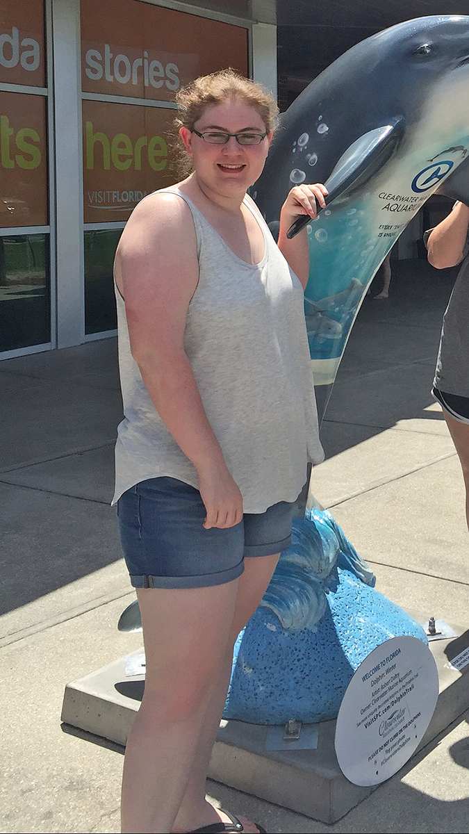 Cassidy Johnson visited the Clearwater Aquarium in Florida before starting college at MTSU and before beginning a weight loss regimen that included dance and fitness routine at the MTSU Campus Recreation Center.