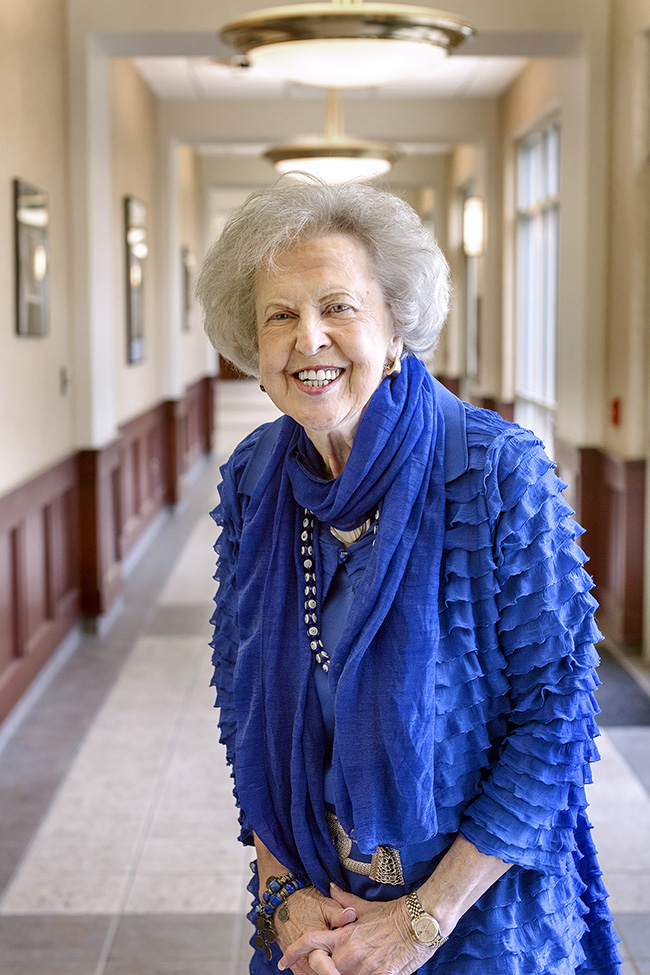 During a break at an MTSU Foundation Board meeting in November 2013, Dr. Liz Rhea stands in the hallway of the Paul W. Martin Sr. Honors College. The alumna and longtime supporter died Thursday, May 30, in Nashville, Tenn. (MTSU file photo by Andy Heidt)