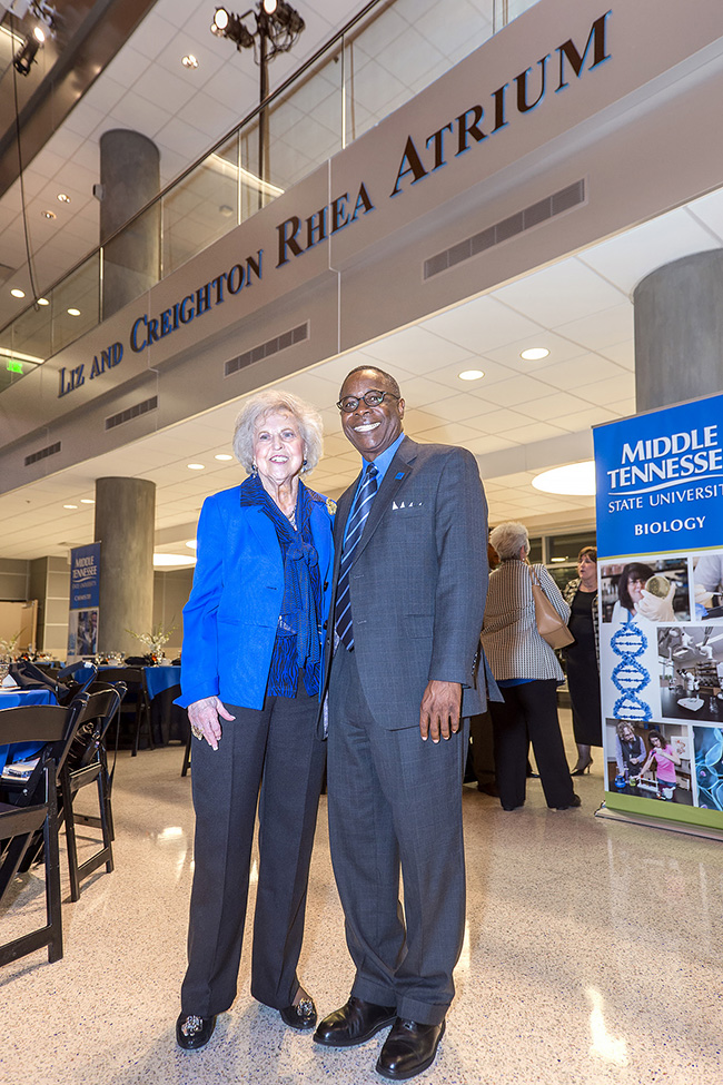 During an October 2014 Science Building Donors Recognition Dinner, Dr. Liz Rhea, left, and MTSU President Sidney A. McPhee are shown in the Liz and Creighton Rhea Atrium on the first floor of the building. Liz Rhea, an MTSU and community philanthropist, died Thursday, May 30. (MTSU file photo by J. Intintoli)