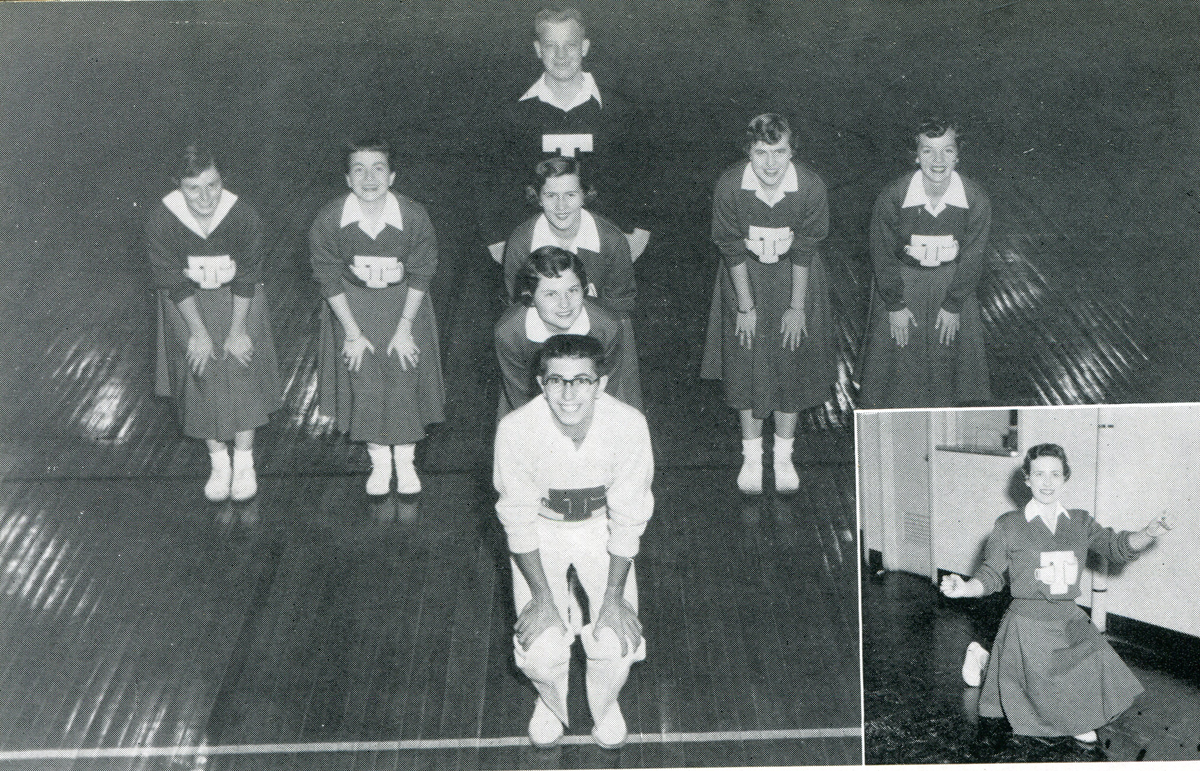 Liz (Hay) Rhea, second from right in group photo, poses with other Middle Tennesseee State College cheerleaders in this mid-1950s photo in Alumni Memorial Gym. The 1955 graduate became a medical doctor. Rhea died Thursday, May 30. (Submitted photo)