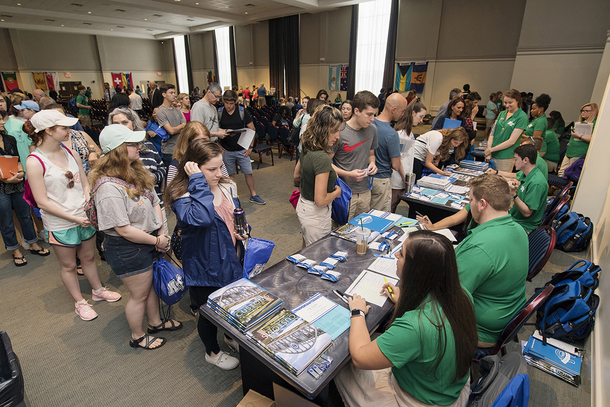 Along with their parents, new MTSU students who started classes last fall wait to receive information from Student Orientation Assistants in May 2018 in the Tennessee Room of the James Union Building on the first day of freshman orientation. Two months of freshmen orientation will start Thursday and Friday, May 16-17, for the fall 2109 semester.