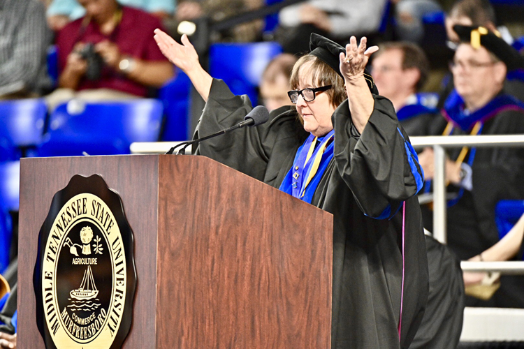MTSU chemistry professor and Career Achievement Award winner Judith Iriarte-Gross urges new graduates to be inquisitive as she speaks during the university's College of Graduate Studies spring 2019 commencement ceremony Friday, May 3, inside Murphy Center. MTSU awarded 384 master's and doctoral degrees in the May 3 ceremony and will present 2,145 undergraduates with their diplomas in dual ceremonies Saturday, May 4. (MTSU photo by J. Intintoli)